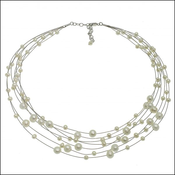 F77 White - Freshwater Pearl Illusion Necklace-0