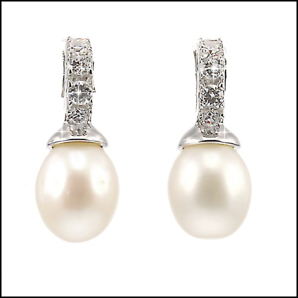 BS003E - Delicate natural freshwater pearl & cubic zirconia stud earrings-0
