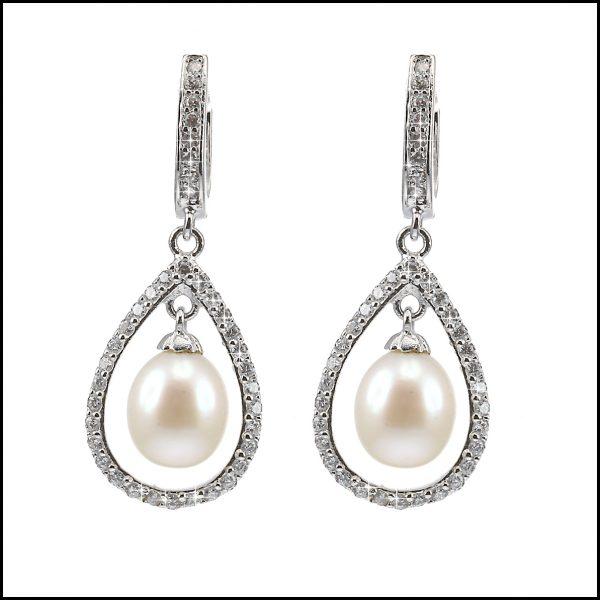 BS027E - Pearl & Sterling Silver Drop Earrings-0