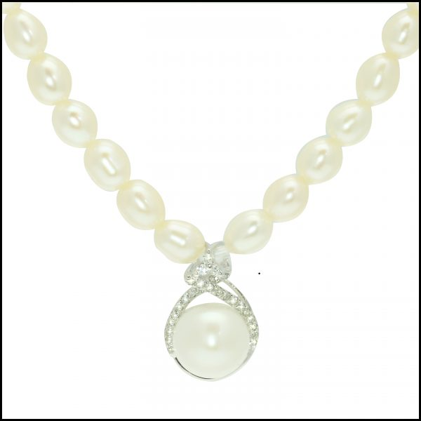 natural white freshwater pearl necklace, white freshwater pearl necklace, pearl necklace, pearl pendant
