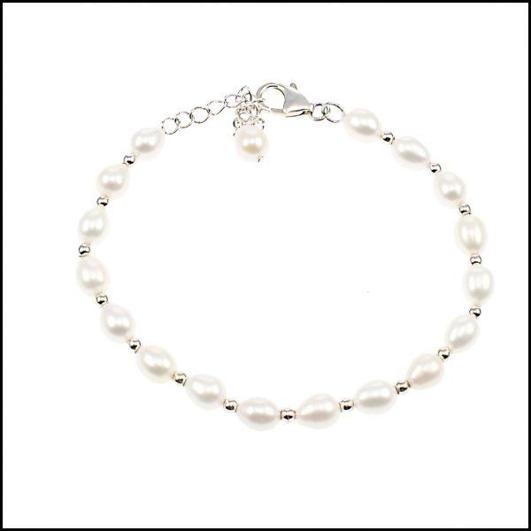 White Bracelet, White Pearl Bracelet, Rice Pearl Bracelet, Lido Bracelet, White Rice Pearl