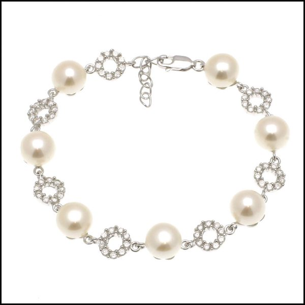 MF005B - Sterling Silver Bracelet with Natural White Freshwater Button Pearls & Cubic Zirconia. -0