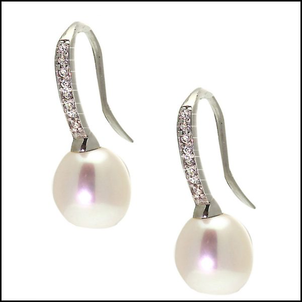 YP008E - Sterling Silver & Freshwater Pearl Hook Earrings-0