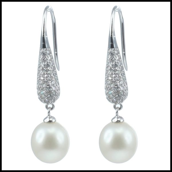 YP018E - Statement Freshwater Pearl & Sterling Silver Drop Earrings-0