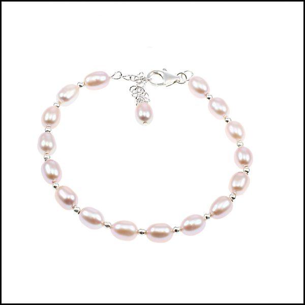 0154B - Pink Rice Pearl Bracelet-0