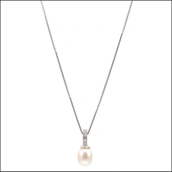 BS003 - Natural freshwater pearl pendant on a sterling silver chain-0