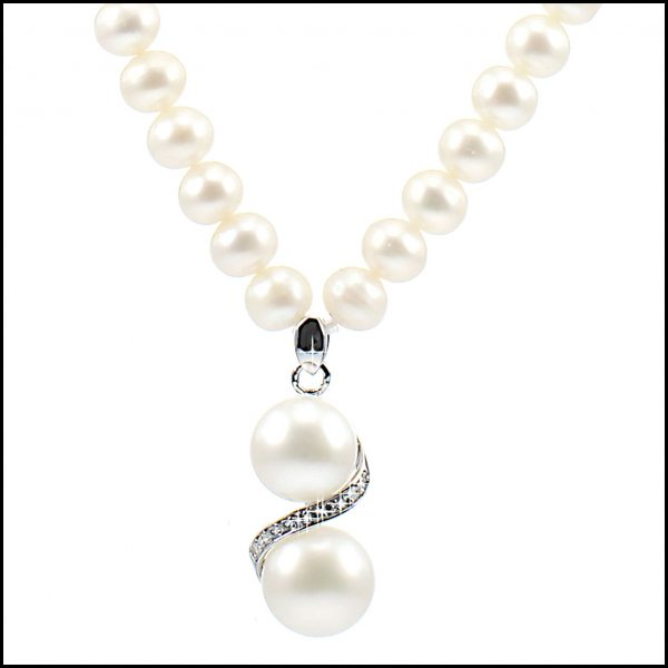 Lido Pearl necklace C19 with double pearl & CZ Pendant-0