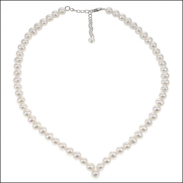 SR52 - V Shaped Pearl Necklace-0