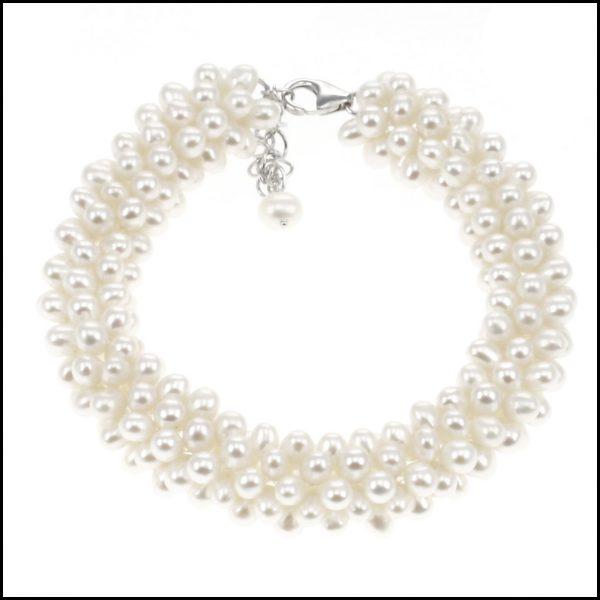 SR53B - Stunning Natural White Freshwater Pearl Bracelet-0