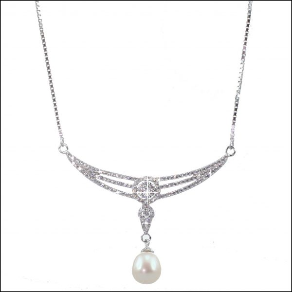 BS40 - Vintage Style Sterling Silver,CZ & Pearl Necklace-0