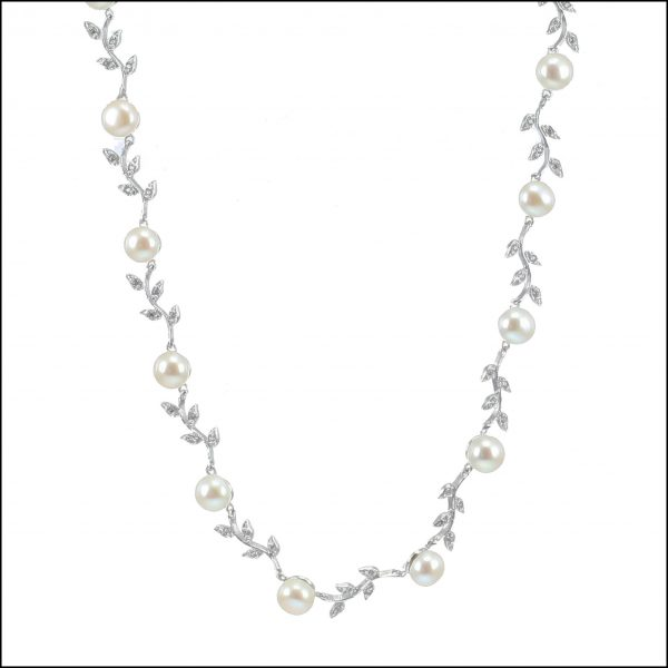 C22 - Sterling Silver, Freshwater Pearls & Cubic Zirconia Leaf Necklace-0