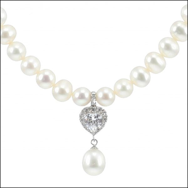 MF035 - Freshwater Pearls & Cubic Zirconia Heart Necklace-0