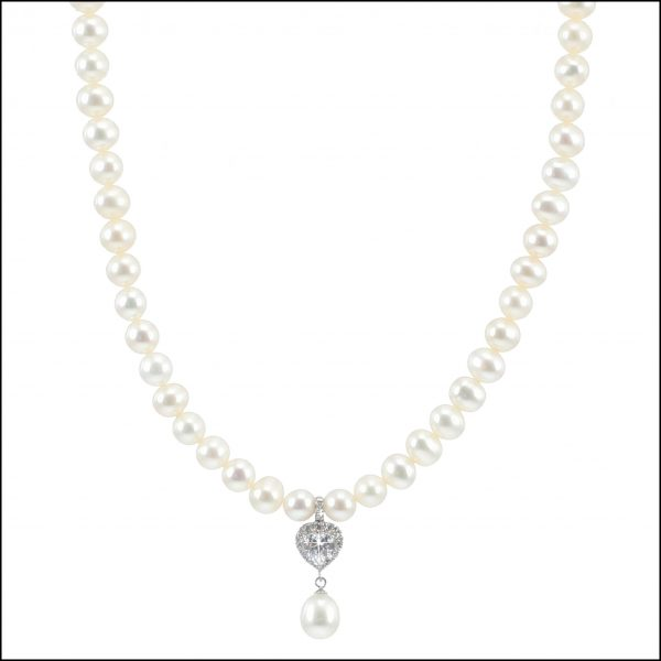 MF035 - Freshwater Pearls & Cubic Zirconia Heart Necklace-2201