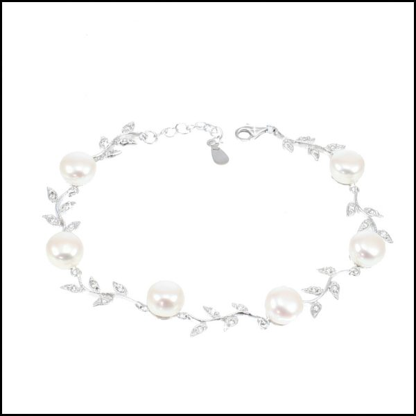 C22B - Sterling Silver, Freshwater Pearls & Cubic Zirconia Leaf Bracelet-0