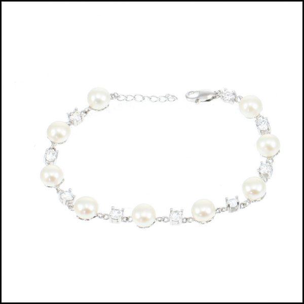 MF033B - Sterling Silver, Cubic Zirconia & Button Pearl Bracelet-0
