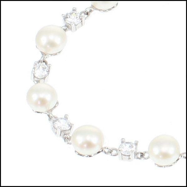 MF033B - Sterling Silver, Cubic Zirconia & Button Pearl Bracelet-2225
