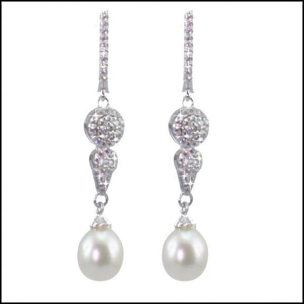BS40E - Sterling Silver, CZ & Pearl Statement Earrings-0