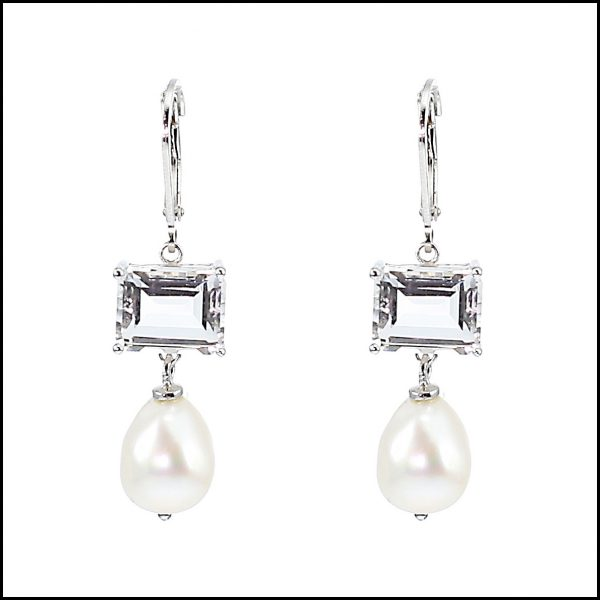 F303E - Stunning Sterling Silver, Crystal & Freshwater Pearl Drop Earrings-0