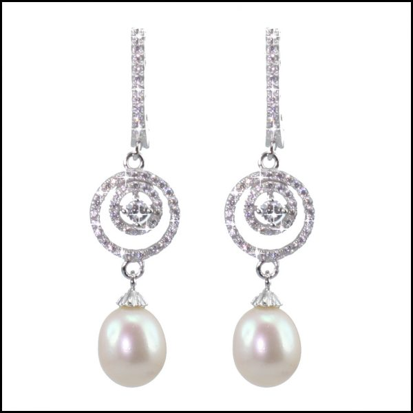 Sterling Silver, Cubic Zirconia & Pearl Earrings, Pearl Earrings, Sterling Silver Earrings, Sterling Silver and Pearl Earrings