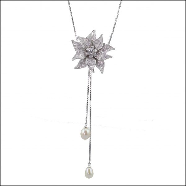 BS43 - Sterling Silver, Cubic Zirconia & Freshwater Pearls Lariat Necklace-0