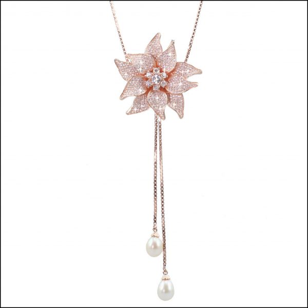 BS43 - Rose Gold Plated, Sterling Silver, CZ & Freshwater Pearls Lariat Necklace-0