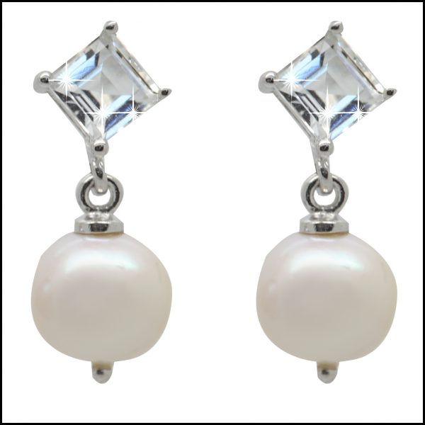 F302E- White Pearl CZ Drop Earrings-0