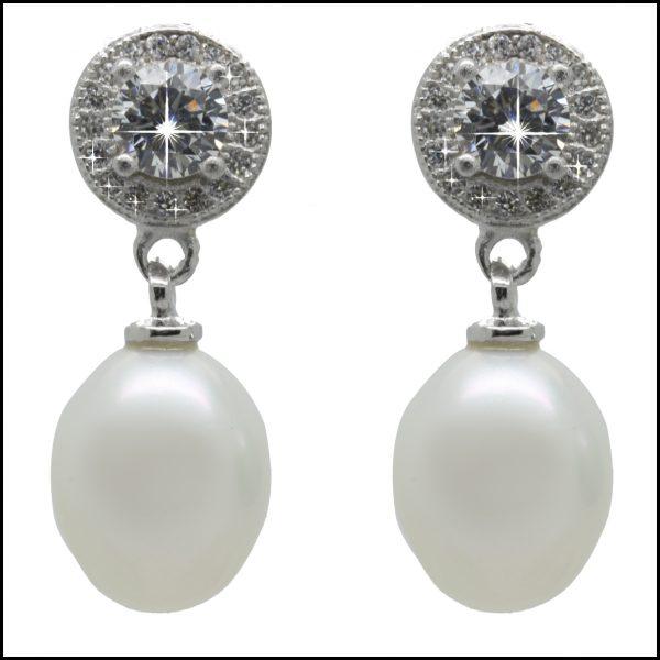 F305E - Sterling Silver & White Pearl Drop Earrings-0