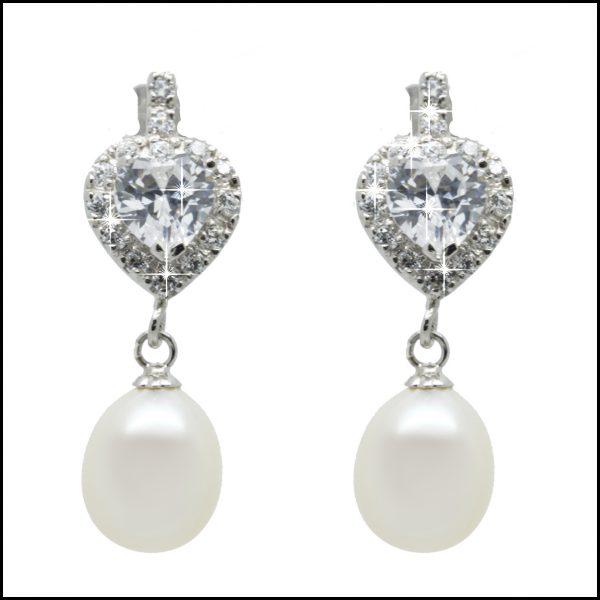 MF035E - Freshwater Pearl & CZ Heart Shaped Earrings-0