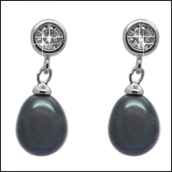 YP024E Sterling Silver & Peacock Pearl Drop Earrings-0