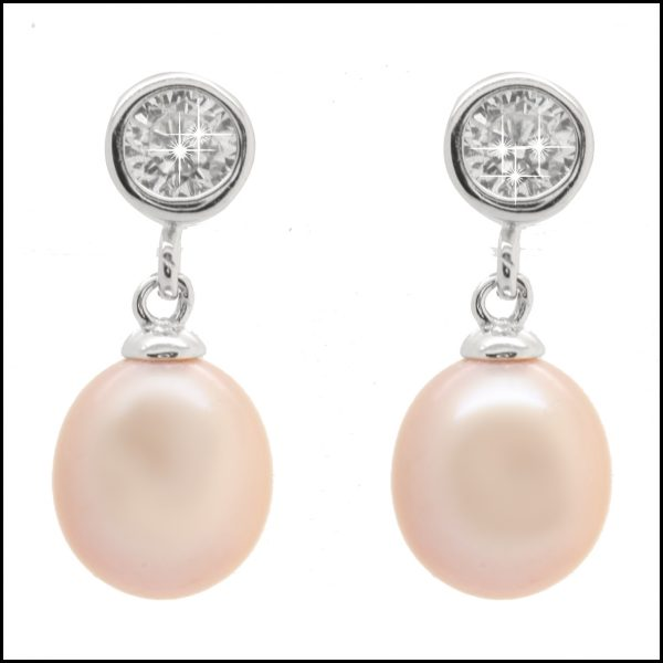 YP024E Sterling Silver & Pink Pearl Drop Earrings-0