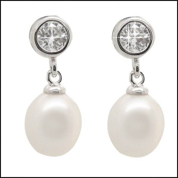 YP024E Sterling Silver & White Pearl Drop Earrings-0