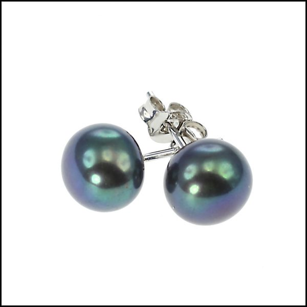 10 - 10.5 mm Large Peacock Button Pearl Earring-0