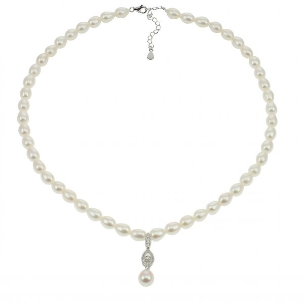 Lido Necklace - C53 - Pearl & CZ Necklace-2298