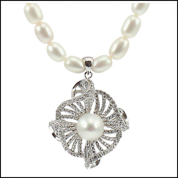 Lido Necklace C39 - Pearl & CZ Pendant-0