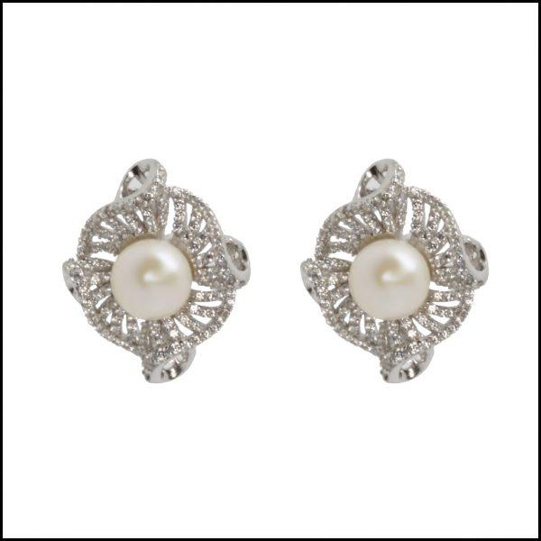 Lido Pearl & CZ Earring C39E-0