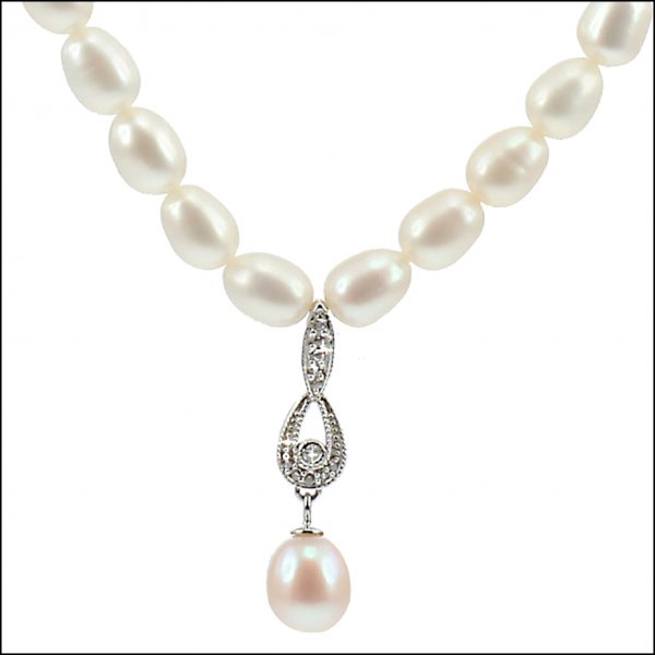 Lido Necklace - C53 - Pearl & CZ Necklace-0
