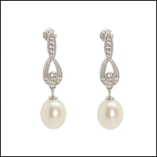 Lido Earring - C53E Pearl & CZ Drop Earring -0