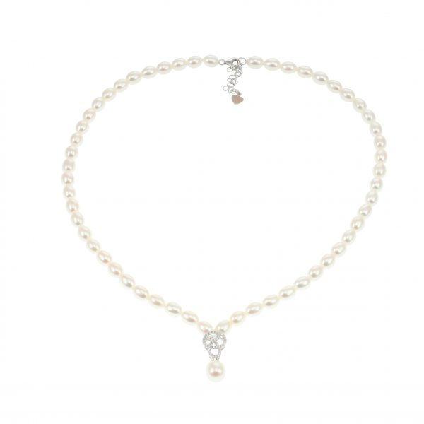 Lido Pearls C60 - Pearl Necklace With Delicate CZ Swirl Pendant-2330