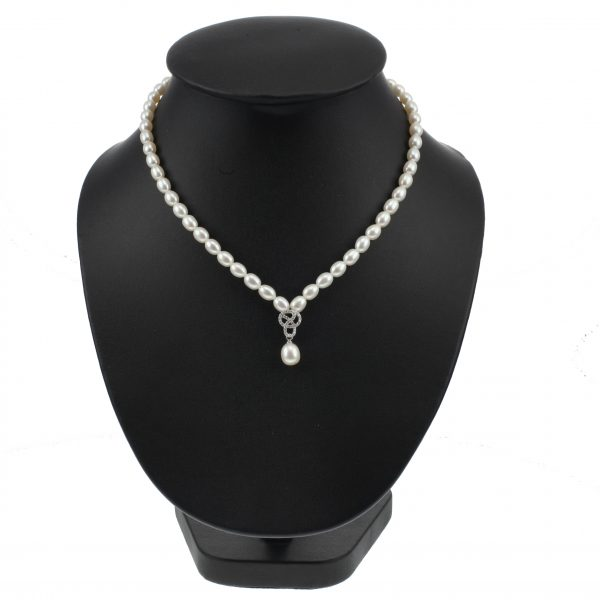 Lido Pearls C60 - Pearl Necklace With Delicate CZ Swirl Pendant-2329