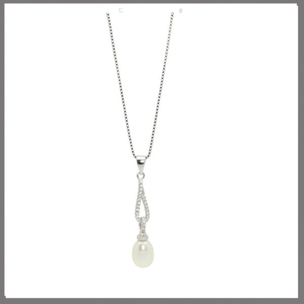 Lido Pearls BS49 - Pearl & CZ Pendant-0