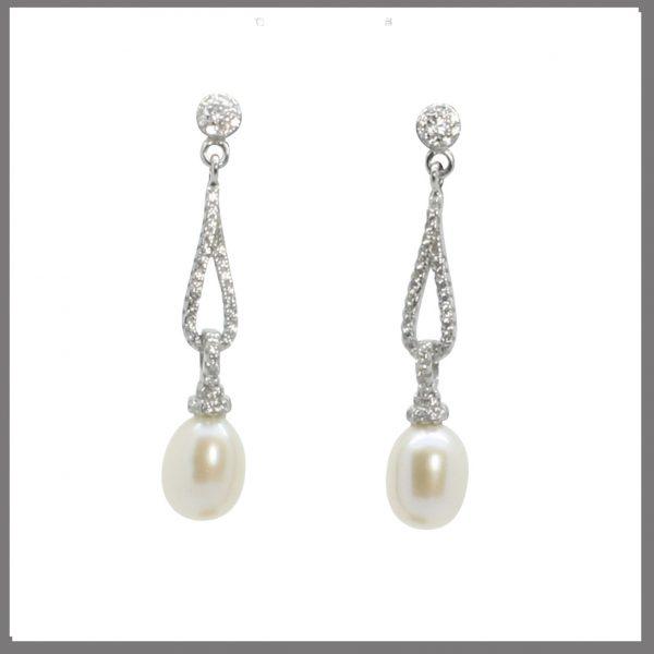 Lido Pearls BS49E - Pearl & CZ Earrings-0