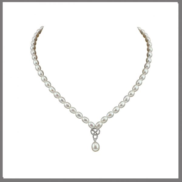 Lido Pearls C60 - Pearl Necklace With Delicate CZ Swirl Pendant-0