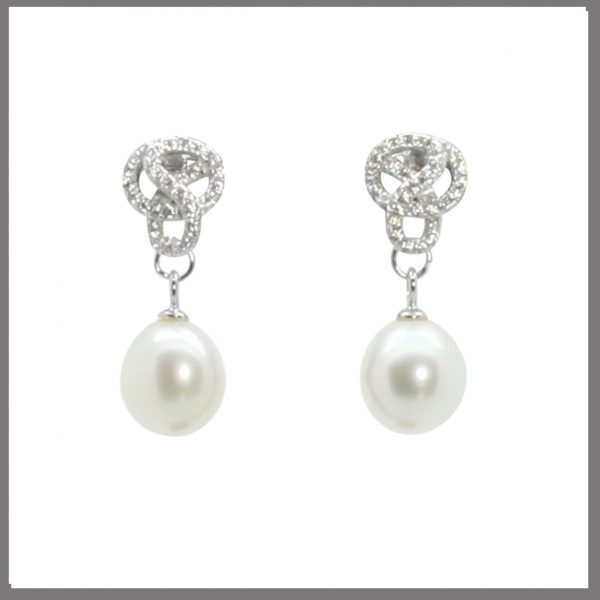 Lido Pearls C60E - Pearl & CZ Swirl Earring-0