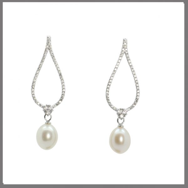 Lido Pearls C61E - Large oval pearl & CZ earrings-0