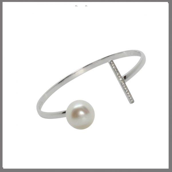 Lido Pearls MY02B - Silver & Pearl & CZ Bangle-0