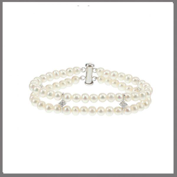 Lido Pearls T114B - Pearl & CZ Bracelet-0
