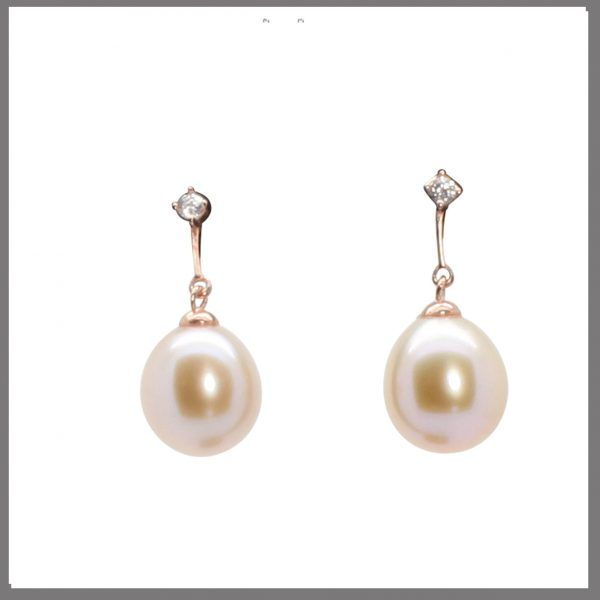 Lido Pearls YP031E Pink & Rose Gold Plating - Pearl Drop Earrings-0