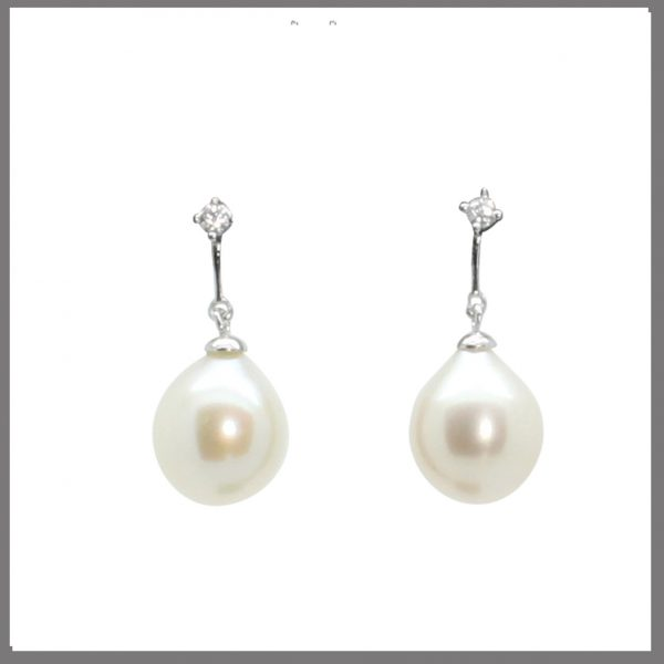 Lido Pearls YP031E - White Pearl Drop Earrings-0