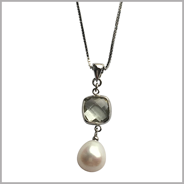 Lido Pearls Pendant - YP032 Silver - Green Amethyst-0