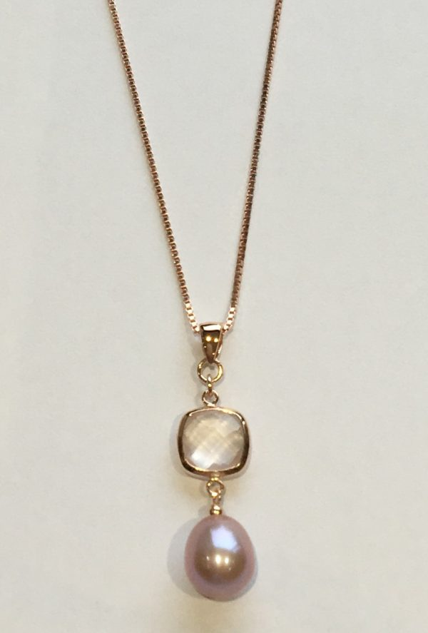 Lido Pearls Pendant - YP032 - Rose Gold - Rose Quartz-2371